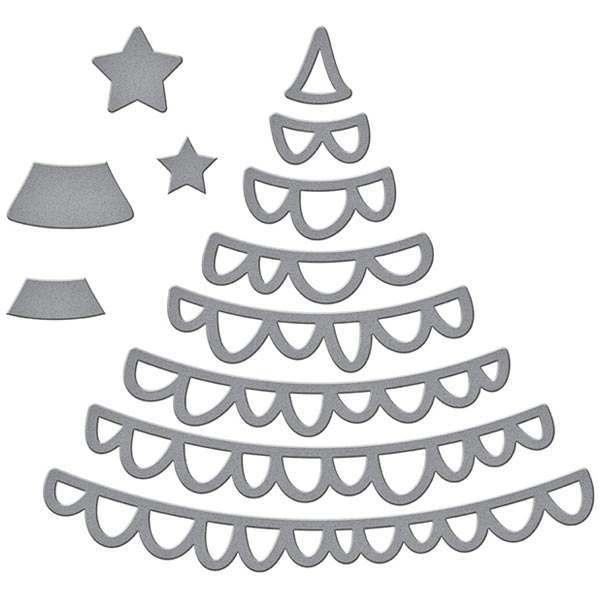 Spellbinders D-Lites Die Set Joyful Christmas Tree Set of 20   Sparkling Christmas Collection